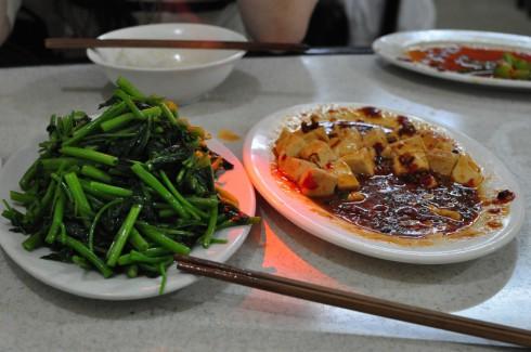 麻婆豆腐と空芯菜